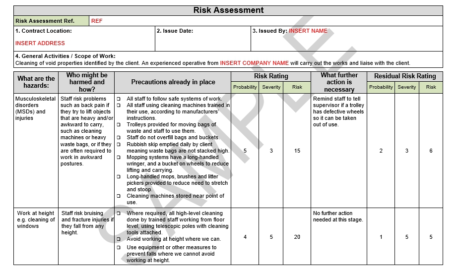 Risk assessment method statement for cleaning seguro for Scaffolding risk assessment template