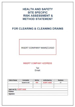 Risk Assessment & Method Statement for Cleaning of Drain 1
