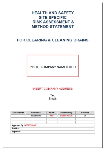 Risk Amp Method Statement For Drain Cleaning Seguro