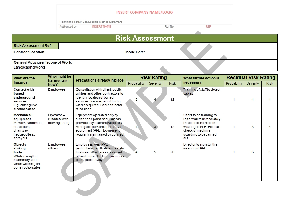 landscaping scope of work template - landscaping risk assessment seguro