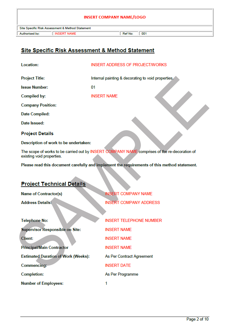 Risk Assessment U0026 Method Statement For Painting U0026 Decorating  Method Of Statement