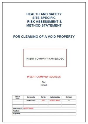 Risk Assessment & Method Statement for Cleaning of Void Property 1
