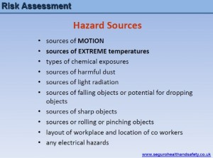 Risk assessment Hazard Sources