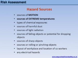Risk assessment Hazard Sources