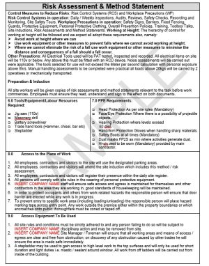 Risk Assessment & Method Statement for Retail Unit Fit Out 2