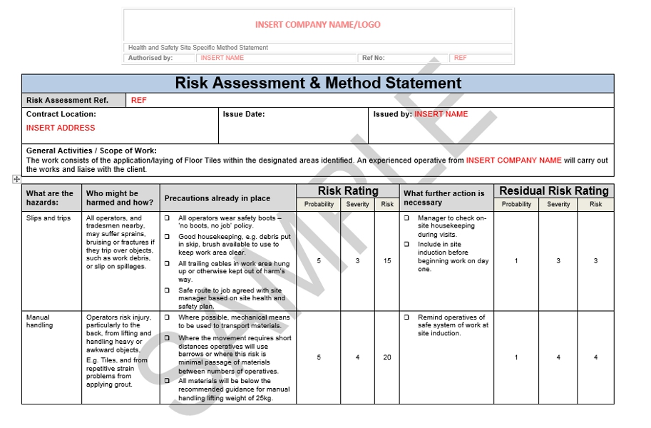 Risk Assessment Amp Method Statement For Floor Tiling Seguro