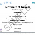 Asbestos Awareness Certificate