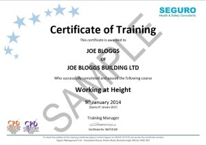 Seguro working at height certificate