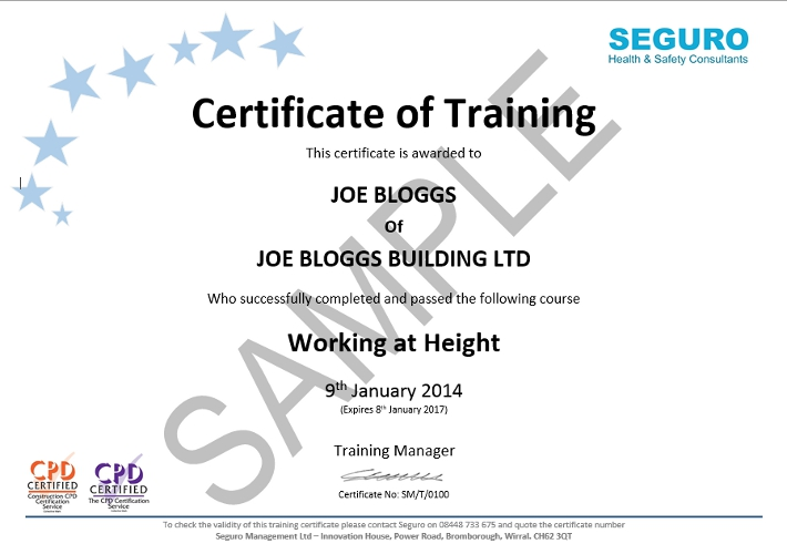 Working at Height Certificate