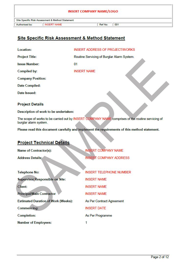 Burglar Alarm Service Risk Assessment Seguro